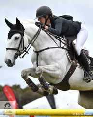 The ever competitive, Katie Laurie is pictured aboard ,'Dandelion' that jumped clear and four in the fasted jump off time, to take third place in the 2019 Keirnan Plant Hire Future Stars Final.