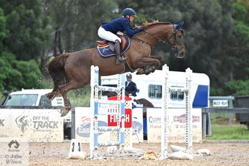 Successful NSW rider, Jennifer Wood is pictured aboard her, 'Cassandro B' during the Interpath Mini Prix Final. They took 12th place. The 32 starters today had to qualify for the final over the earlier days of the show.