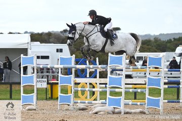 Olivia Hamood, pictured aboard the talented, 'Knock  Out III' jumped a double clear over the testing track to take second place in the Interpath Mini Prix Final.