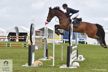 Emily Baldwin from NSW is pictured in a great position over this oxer abaord, 'Twins Ava' on their way to fourth place in the Horseland 2019 Australian Junior Showjumping Championships.