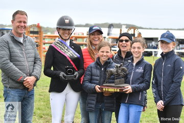 Former New Zealand international rider and now Australian citizen, Katie Laurie won the Catherine Quilty Memorial Leading Lady Rider award presented at the Australian Championships for a number of years. Pictured L-R, Phil Stephens, (Catherine's partner), Katie Laurie, Caroline Price, (Catherine's sister), Annette Quilty, (Catherine's mother) and in front, Elissa and Kaylee Stephens, (Catherine's daughters) and Olivia Price.