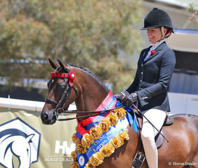 "The STYLES EQUESTRIAN Champion Large Pony ""Merivale Park Remembrance"" and Jacinda Smith."