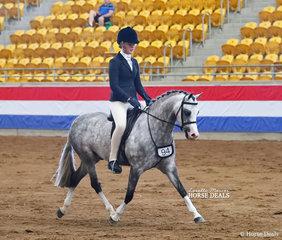 "The KERRIBEE SHOW HORSES Champion Large Show Hunter Pony ""Bamborough Banknote"" and Tammin Glover."