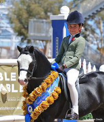 "Vanessa Galloway-Smith's pony ""Bamborough Snigger"" was The AUSTRALIAN HUNTER & SHOW HORSE ASSOCIATION Small Show Hunter Pony Champion, ridden by Jett Newman."