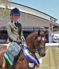 """Olivia Carter and """"Burnewang Waterman"""" placed Top 10 in The AUSTRALIAN HUNTER & SHOW HORSE ASSOCIATION Small Show Hunter Pony & won the Highest Placed Home Produced exhibit."""
