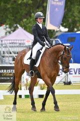 Charlotte Flood is pictured aboard her General Nediym Thoroughbred gelding, 'Collude With Me' during the dressage phase of the Horseland CCI3-L on day one of competition at the Mitsubishi Motors Australian 3DE.