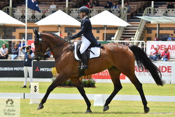 Successful Australian eventing rider, Madeline Wilson from Queensland is pictured aboard her Yalambi's Carpino Z mare, 'Annie Jane' during the dressage phase of the Horseland CCI3-L on day one of competition at the Mitsubishi Motors Australian 3DE.