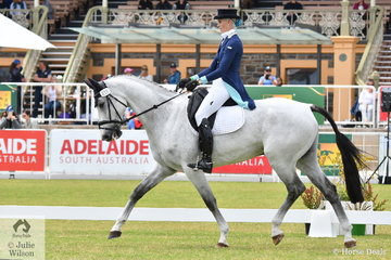Jess Somerfield is pictured aboard her Warmblood, 'Lakeview Albion' by Royal Hit (imp) during the dressage phase of the Horseland CCI3-L on day one of competition at the Mitsubishi Motors Australian 3DE.