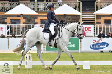 Olivia Lalak is pictured aboard her Thoroughbred gelding, 'Contador' by Rock Of Gibraltar during the dressage phase of the Horseland CCI3-L.