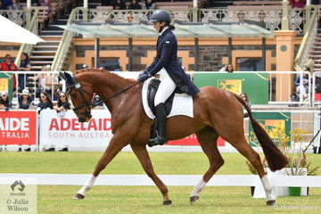 Rebecca Barling is another to choose a Thoroughbred as competition mount and is pictured riding her, 'On Your Mark' by Kings Best during the dressage phase of the Horseland CCI3-L.