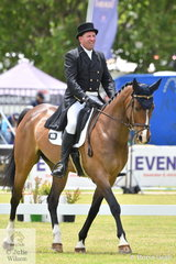 Former international showjumping rider, Anthony Thomas from South Australia has turned his talents to eventing and is pictured riding, 'ESB Irish Craft' by ESB Irish Descent during the dressage phase of the Horseland CCI3-L.