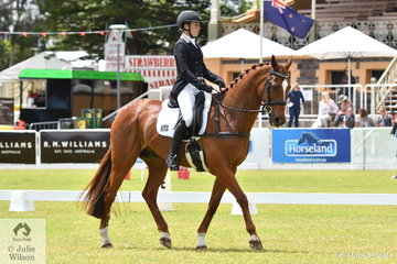 Saskia Hand and her 'Sunshine Boy', a Thoroughbred gelding by Sedaka are pictured during the dressage phase of the Horseland CCI3-L.