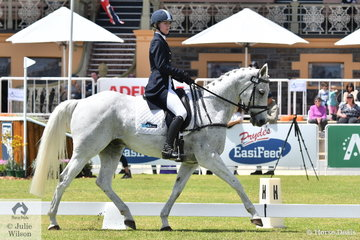 Tara Rogers holds eleventh place after the dressage phase of the Horseland CCI3*-L riding her, 'Hunter Bullimore' out of a mare by McCartney. Just six penalty points separate first from eleventh.