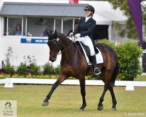 Georgia Tivendale is pictured aboard her, 'Star Allure' during the dressage phase of the Horseland CCI3-L on day one of competition at the Mitsubishi Motors Australian 3DE.