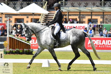 Madison Simpson holds fourth place on 32.10 after the dressage phase of the Horseland CCI3-L riding her Thoroughbred/Clydesdale cross, 'Tiraumea Sportsman'.