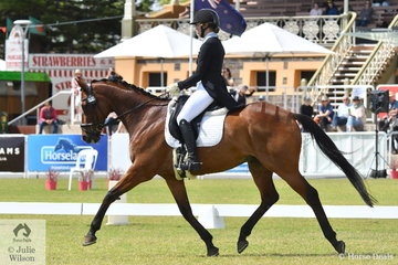 Steph Hann is pictured aboard her eye catching Thoroughbred, 'True Celebre' by Peintre Celebre during the dressage phase of the Horseland CCI3-L.