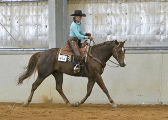 Carol Elliott riding Zip Some Moore in the Junior Horse Ranch Riding
