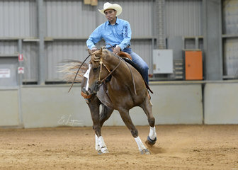 Danny Kopa riding Proud Lil Merdoc, in the All Age Reining