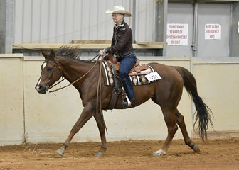 Judy Johnson riding LP Zippin Into Mischief in the Select Amateur Ranch Riding