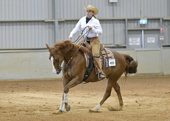 Sara Agnew riding Genetically Awesome, in the All Age Reining