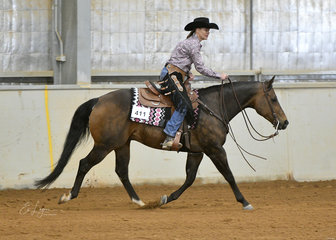 Tracey Atkins riding Ceein Radical in the Amateur Ranch Riding