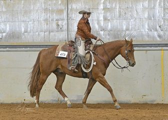 Sue Anderson riding MPQ Rich N Classic, in the Select Amateur Ranch Riding.