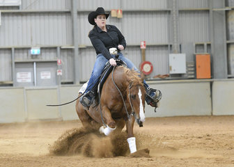 Amber Denton on OP Whizzel Do in the All Age Youth Reining