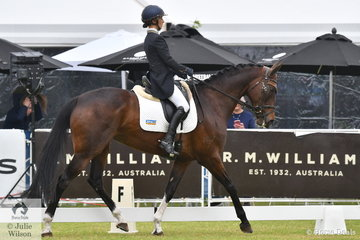 Annabel Armstrong from NSW is pictured aboard her talented Thoroughbred gelding, 'Quaprice' by Quest For Fame during the dressage phase of the RM Williams CCI4*-S. They hold ninth place heading in to the cross country phase tomorrow around the beautiful Adelaide Parkland.