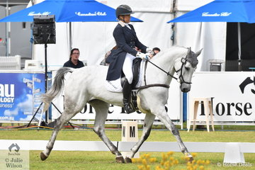 South Australian Olympian, Megan Jones holds fourth place after the dressage phase of the RM Williams CCI4*-S riding her Warmblood mare by Cosido, 'RLE Barina'.