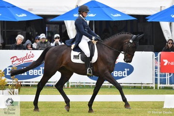 Bessie Dimery from Victoria is pictured aboard 'Ruban Son' by Regardez Moi during the dressage phase of the RM Williams CCI4*-S.