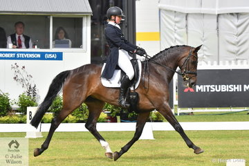 Riding for New Zealand, Madison Crowe holds the lead after the dressage phase of the RM Williams CCI4*-S with a score of 28.50 riding her Warmblood mare, 'Waitangi Pinterest' by Cassiano.