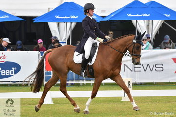 Penny Johnson from Victoria is pictured aboard her, 'BB Boom' during the dressage phase of the RM Williams CCI4*-S.