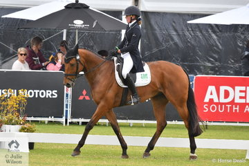 Victorian rider, Sophia Landy is pictured aboard her Thoroughbred gelding, 'Humble Glory' by Bernadini during the dressage phase of the RM Williams CCI4*-S.