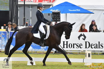 Jessica Rae from NSW holds third place after the dressage phase of the RM Williams CCI4*-S  riding her Regardez Moi gelding, 'Rascal'.