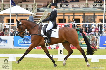 Jessica Grossman from NSW holds eighth place after the dressage phase of the Mitsubishi CCI5*-L riding her 'Belmont Backstage' by Belmont Golden Boy.