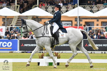 Rebekah Italiano from Victoria holds ninth place after the dressage phase of the Mitsubishi CCI5*-L riding her, 'ESB Irish Patience' by  ESB Irish Edition.