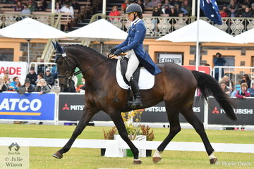 Sarah Clark from South Australia is pictured aboard her Balou du Rouet gelding, 'LV Balou Jeanz' during the dressage phase of the Mitsubishi CCI5*-L.