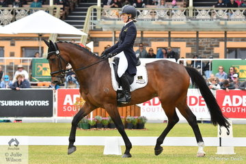 Emily Gray from WA is pictured abaord her well performed Jubilee Bay gelding, 'Jocular Vision' during the dressage phase of the Mitsubishi CCI5*-L.
