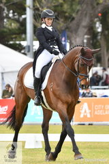 The New Zealand contingent are doing well with their Thoroughbreds and are well placed heading in to the cross country phase tomorrow. Diane Gilder is pictured abaord her, 'Your Attorney' by Legal Opinion that hold fifth place after the dressage phase of the Mitsubishi CCI5*-L.