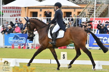 Originally from Queensland, but now resident in Victoria, Madeline Wilson is pictured abaord her successful Fisherman's Friend gelding, 'I'm Bruce' during the dressage phase of the Mitsubishi CCI5*-L.