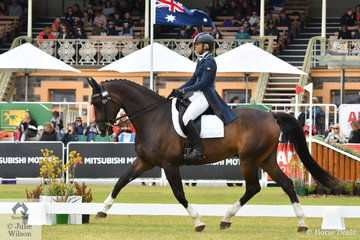 Tanya Schmidt from Queensland is pictured riding her APH Rocardo gelding, 'Laurentino' in the dressage phase of the Mitsubishi CCI5*-L.