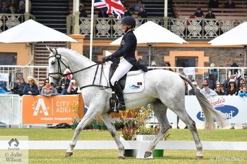 Lauren Browne produced a super dressage test riding her Thoroughbred, 'Sky's Da Limit' by Hurricane Sky to hold third place on 31.00 penalties after the dressage phase of the Mitsubishi CCI5*-L.