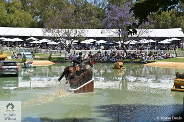 Mitsubishi CCI5* combination, Tanya Schmidt and 'Laurentino' make their way through the Rymill Park Lake complex. The crowds were huge given the perfect cross country day weather and the VIP area was well attended.