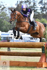 Shenae Lowings from WA is pictured aboard her Thoroughbred, 'Bold Venture' by Deveraja during the cross country phase of the Horseland CCI3*-L.