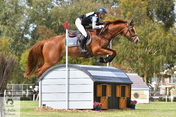 Annabel Armstrong posted a good, clear cross country run aboard her Conquistador gelding, 'Pumpernickel' to be poised just out of the top ten heading in to the final phase of the Horseland CCI3*-L tomorrow.