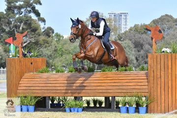 Isabel O'Loughlin is pictured aboard her Encosta De Lago gelding, 'Lagoes Choice' during the Horseland CCI3*-L. They only had time penalties to add.