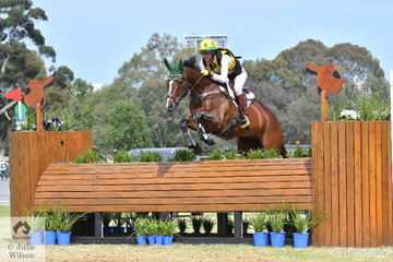 Natalie Hibbert was one of a number of competitive riders at the Australian international 3DE and she is pictured aboard her, 'Two Chances' during  the Horseland CCI3*-L cross country phase.