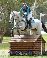 Jess Somerfield from NSW is pictured aboard her eye catching Royal Hit gelding, 'Lakeview Albion' during the cross country phase of the Horseland CCI3*-L.