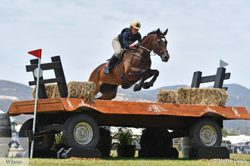 Jade Findlay and  'Oaks Cordelia' are pictured making a super jump during their Mitsubishi CCI5*-L cross country run.
