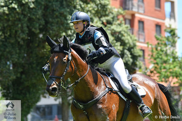 Emily Gray and 'Jocular Vision' from WA are pictured at the gallop and meaning business during their Mitsubishi CCI5*-L cross country run. They added 7.2 time penalties to hold seventh place.